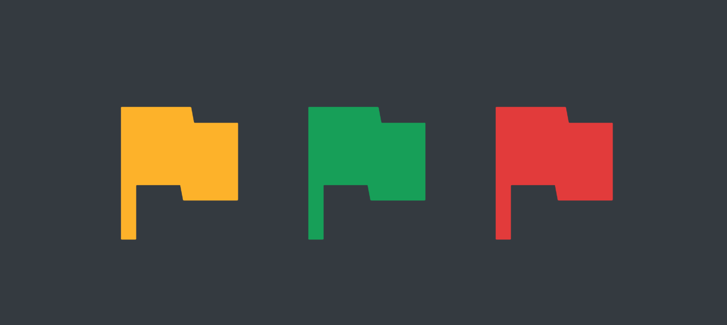 """Yellow, red, and green flags representing """"citator"""" signals"""